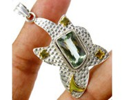 Awesome 925 sterling silver Green Amethyst Pendant